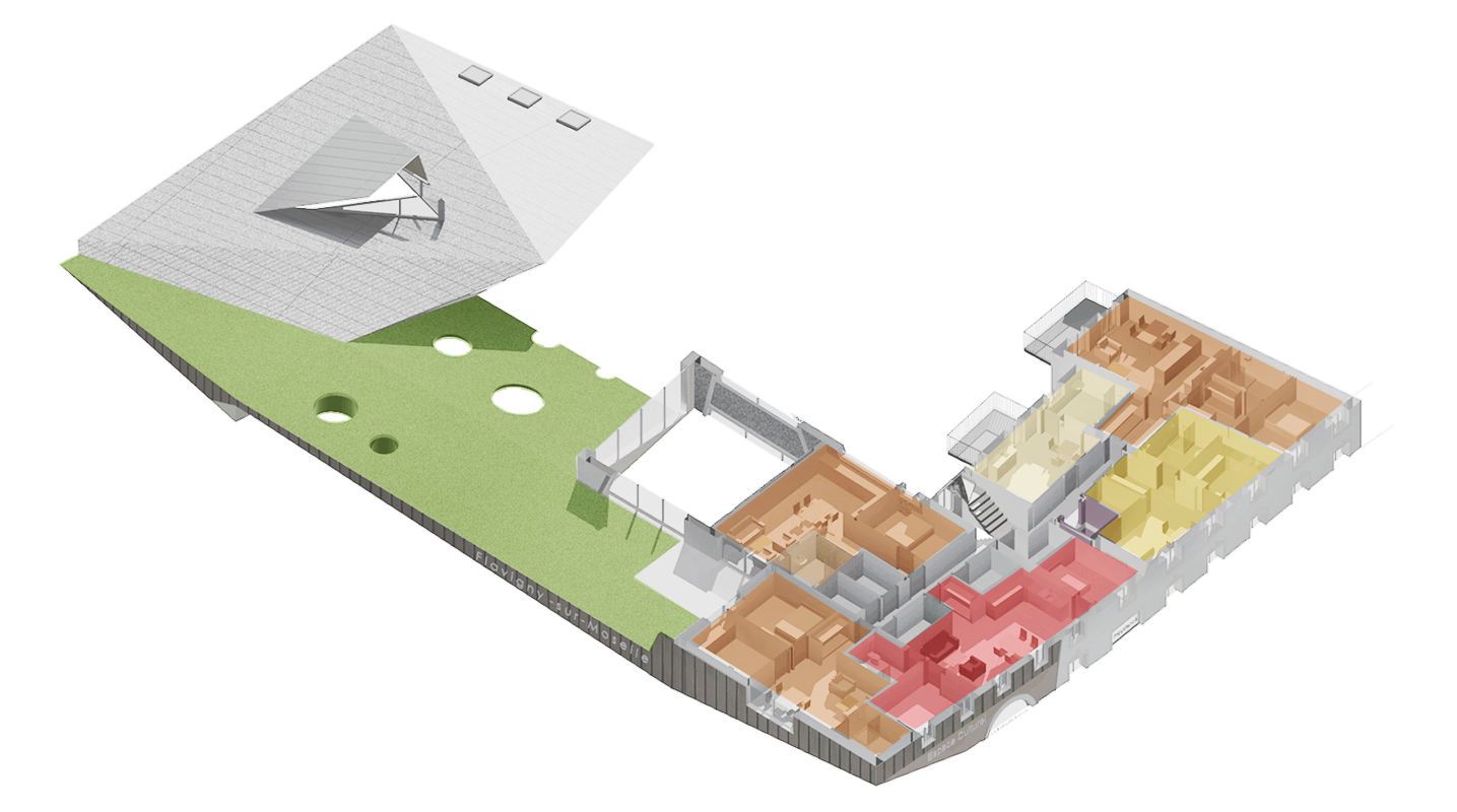 axonométrie 1er étage résidence séniors salle multi-activité crèche