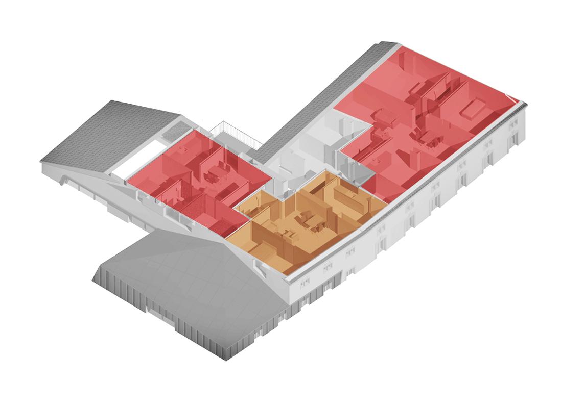 axonométrie 2ème étage résidence séniors salle multi-activité crèche