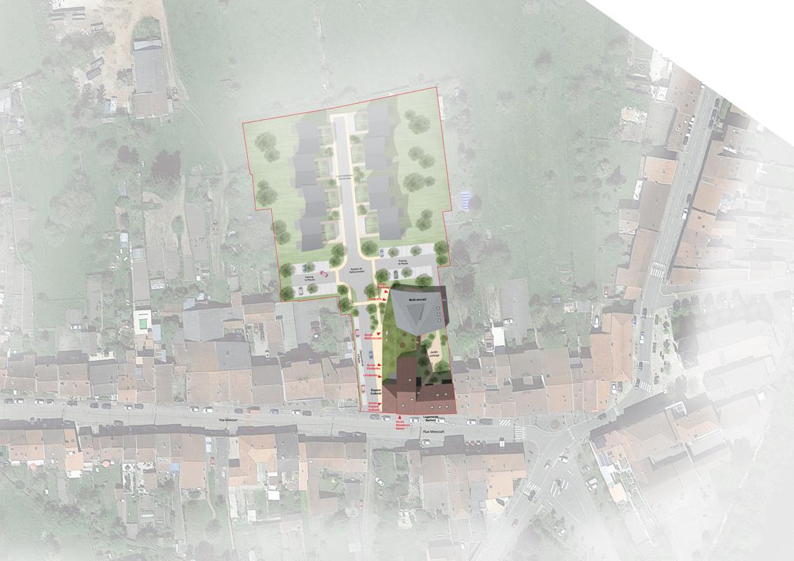 plan masse  résidence séniors salle multi-activité crèche
