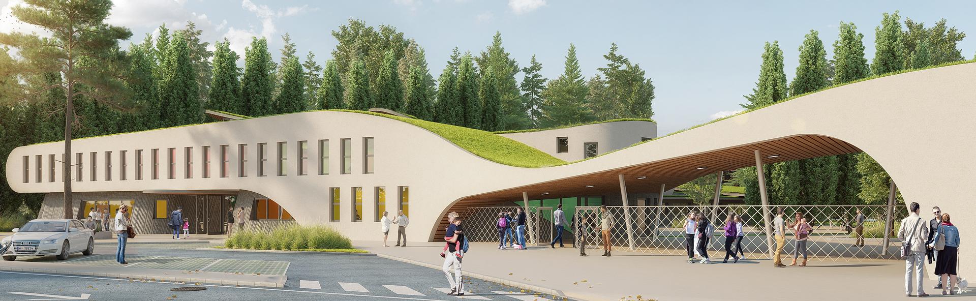Vue du parvis sans arbre groupe scolaire Joly Jean Avignon