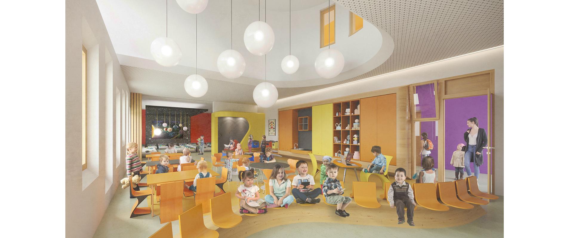 Perspective salle de classe maternelle groupe scolaire Joly Jean Avignon