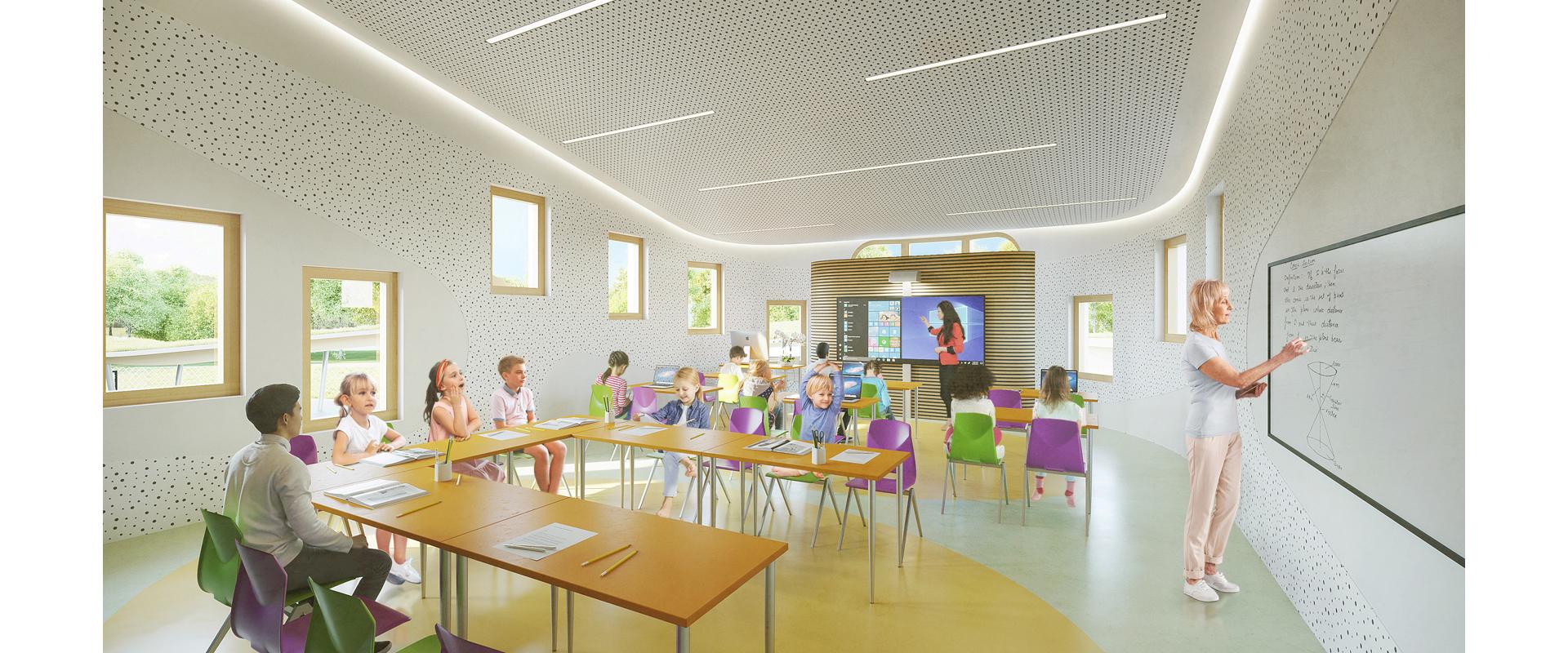 Perspective salle de classe élémentaire groupe scolaire Joly Jean Avignon
