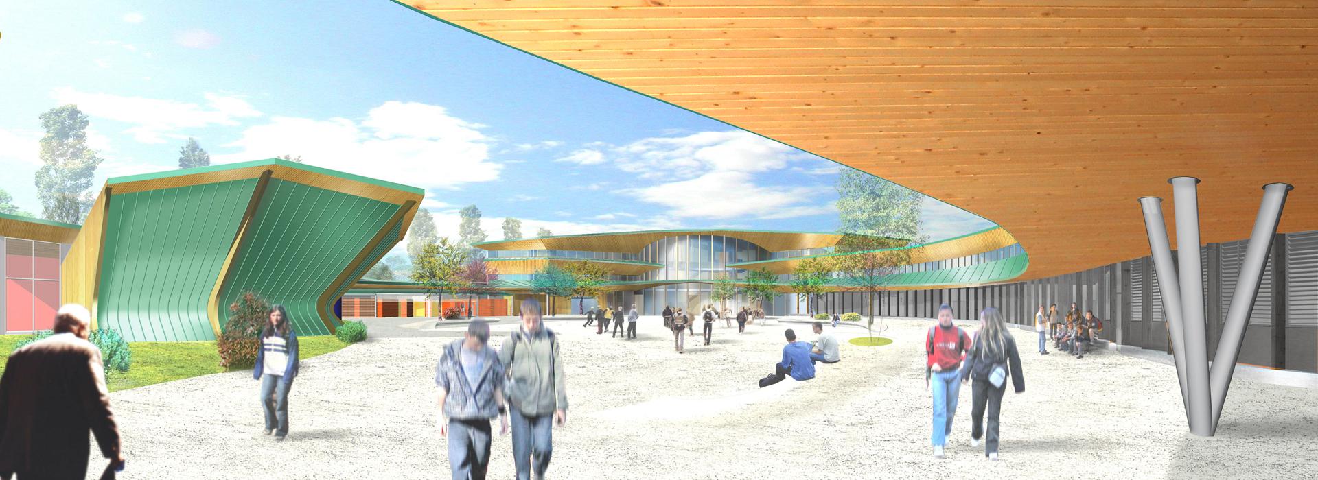 Vue du parvis construction collège Burnhaupt-le-Haut